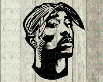 SVG Cut File, Cricut, Tupac, Rap, Celebrity, Music, File, T-Shirt, Mug, Cup, Tumbler, Tupac face