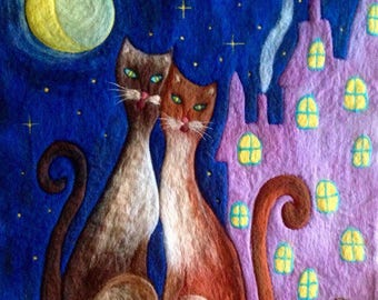Lovely cats couple, Felt wool hand made art painting