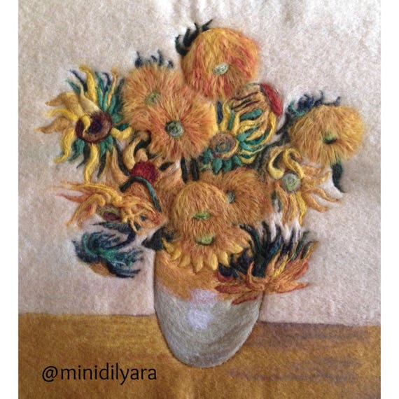 Famous Van Gogh Sunflowers Wool Felt Art Painting Home Decor Gift Idea