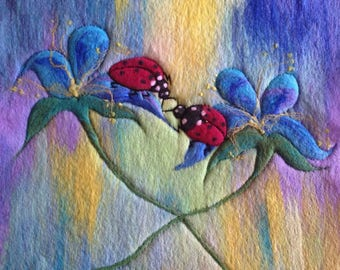 Ladybugs couple with rainbow. Home decor, cute, romantic gift,