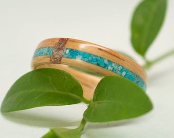Golden Koa Bentwood Ring with Turquoise and Glass Inlay