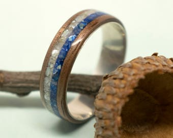 Walnut Bentwood Ring with Sterling Silver Liner and Mother of Pearl Inlay