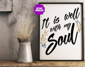 """Home Office Decor """"It is well"""" Harvest Printable Typography Poster"""