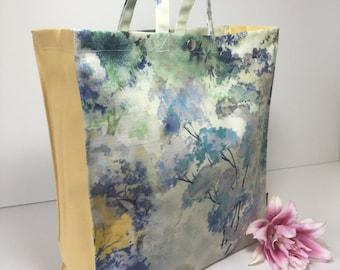 ideal for shopping! Cotton Matt Oilcloth Original Tote Bag with plain ecru matt gusset Sherwood in Teal