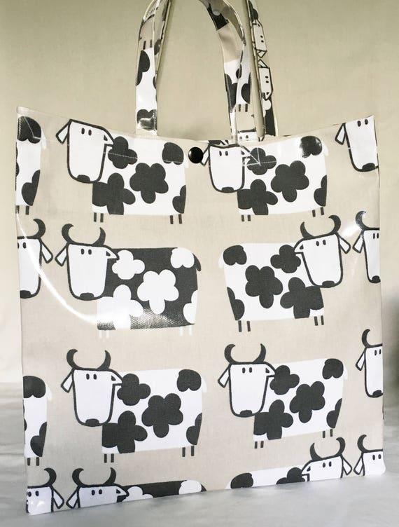 Nikki/'s Original Totes Handmade Cotton Oilcloth Bag LABRADORS Chocolate OR Black
