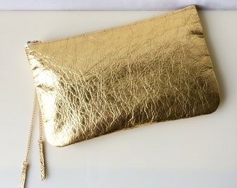 Gold Leather Clutch. gold Leather Purse. gold Leather Pouch. Gold Leather Evening Bag. Gold leather cosmetic bag. MOMO clutch Gold.