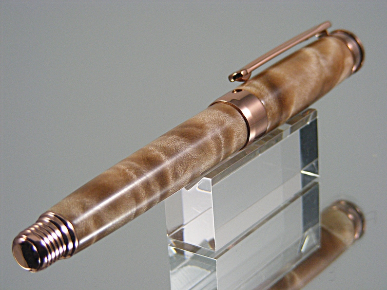 Handmade Wooden Rollerball in Rose Gold with Quilted Maple Rollerball Pen