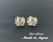 950 silver earrings,Samurai emblem,Made in Japan,Kamon,Japanese family crest,Sterling silver earrings,Myoga,gift for her,valentines gift