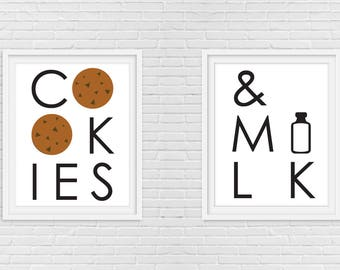 Cookie Print - Cookie Art - Cookie Milk Print - Dessert Print - Kitchen Print - Kids Print - Set of 2 - Minimalist Art - Wall Art - 8 x 10