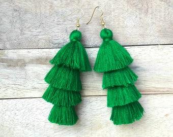 Mini Green Tassel Earrings,Green earrings,Four layered earrings,Hand made earrings.