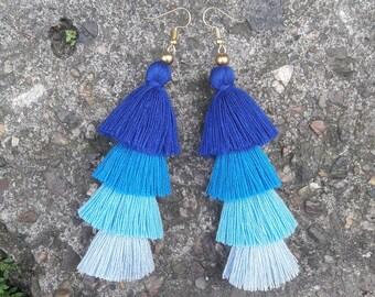 4 Tiered Blue Tassel Earrings,Tassel earrings,Bohemian earrings,Hand made earrings,Blue earrings.