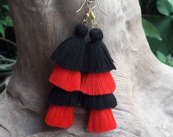Black&Red Tassel Earrings,Black earrings,Red earrings,Hand made earrings,Chandelier earrings.
