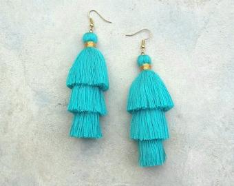 Three Layered Turquoise Tassel Earrings,Turquoise earrings,Turquoise tassel,Hand made earrings,Bohemian earrings,Hippie earrings.