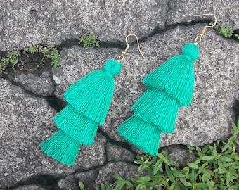 Sea foam earrings,Sea foam tassel earrings,Green earrings,Green tassel earrings.