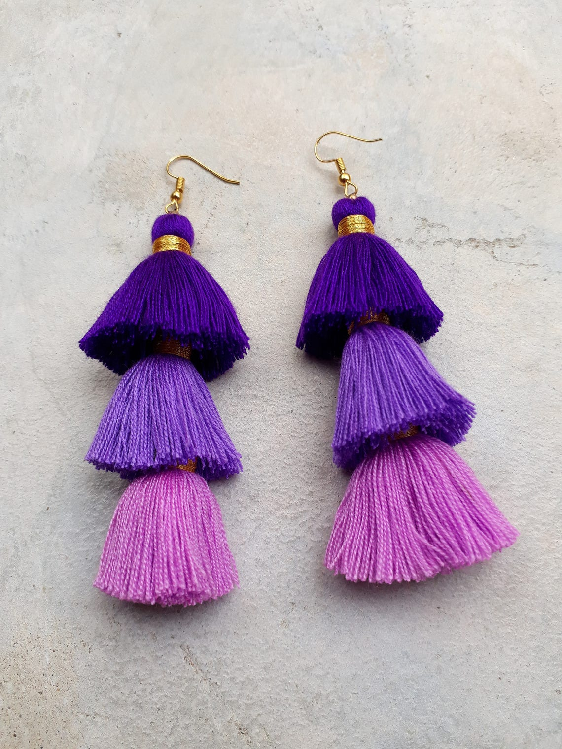 Three Purple Tassel EarringsThree layered tassel image 2