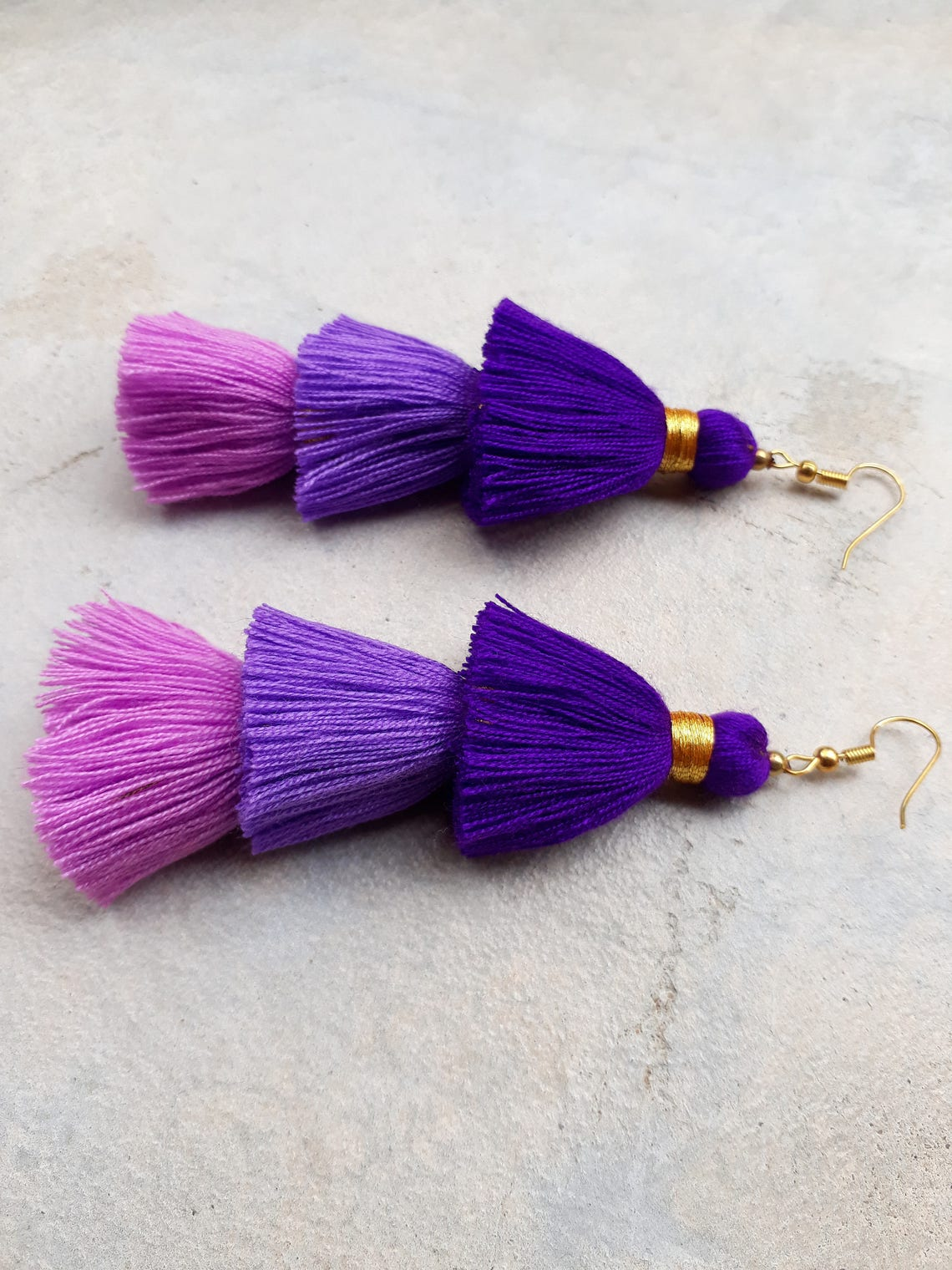 Three Purple Tassel EarringsThree layered tassel image 0