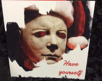 michael myers christmas card halloween horror holiday greeting card killer creepy unique seasons greetings 5x5 the shape