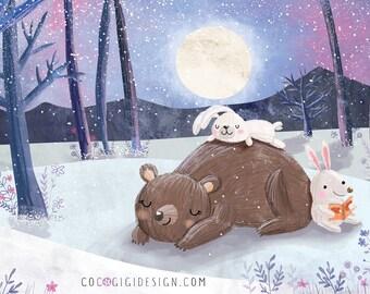Bear, rabbits and the moon - A4 print
