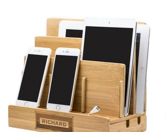 charging station,Organization,bamboo,charging, laptop,cord,organizer,office,eco friendly,sustainable,charging dock,docking station,home gift