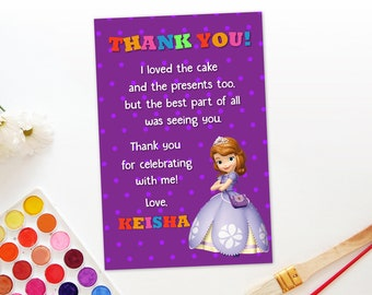 Sofia The First Thank You Card Etsy