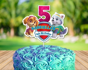 Personalized Paw Patrol Cake Topper Centerpiece Skye Everest Birthday Party Decoration Printable DIY