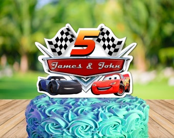 Personalized Cars 3 Cake Centerpiece Lightning Mcqueen Jackson Storm Birthday Party Topper Printable DIY