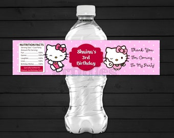 Personalized Hello Kitty Water Bottle Label Pink Polka Dots Birthday Party Baby Shower Sprinkle Printable DIY
