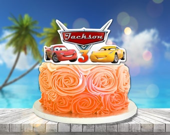 Personalized Cars 3 Cake Centerpiece Lightning Mcqueen Cruz Ramirez Birthday Party Topper Printable DIY