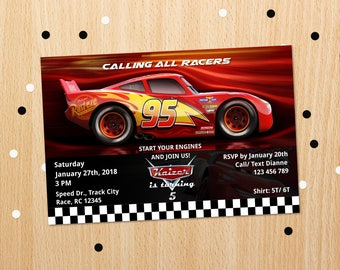 Personalized Cars 3 Lightning Mcqueen Birthday Party Invitation Race Car Racing Invite Printable DIY Artiqles
