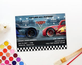 Joint birthday etsy personalized cars 3 joint birthday celebration party invitation invite jackson storm lightning mcqueen printable diy digital file stopboris Images