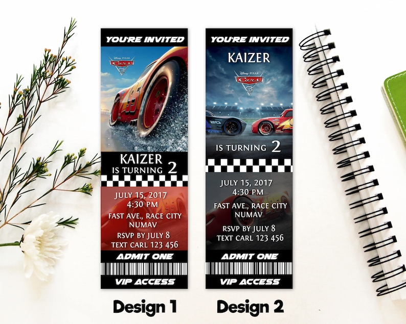 Personalized Cars 3 Birthday Party Admit One VIP Access Ticket
