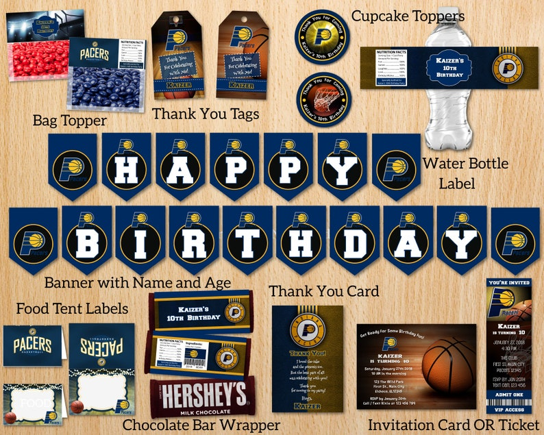 image relating to Printable Pacers Schedule named Indiana Pacers Birthday Occasion Printable Package Package Offer Invitation Banner Cupcake Toppers Bag Food stuff Tent Labels Do it yourself - Electronic History