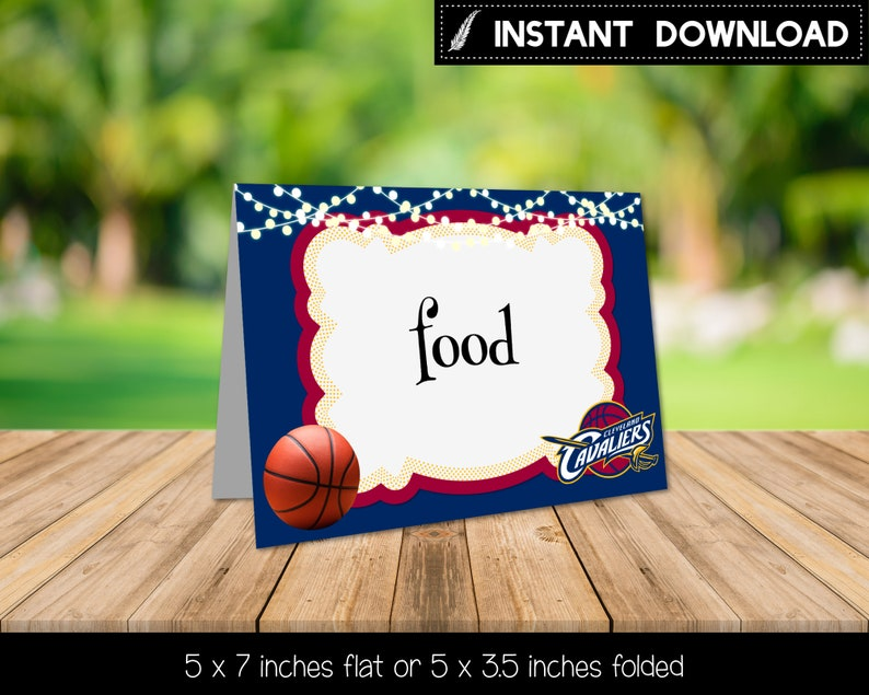 photo about Cleveland Cavaliers Printable Schedule named Fast Obtain - Cleveland Cavaliers Basketball Foodstuff Tent Labels Meals Indications Birthday Bash Printable Do it yourself - Electronic Report