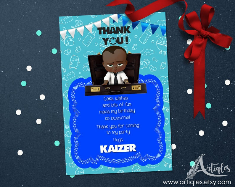 Personalized Black Boss Baby Thank You Card Birthday Party African American Baby Shower Baby Sprinkle Printable Diy Digital File