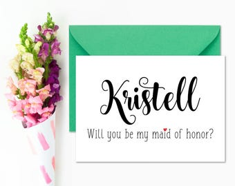 Personalized Will You Be My Maid of Honor Card Wedding Invitation Invite Elegant Script Proposal Printable DIY - Digital File #ES01