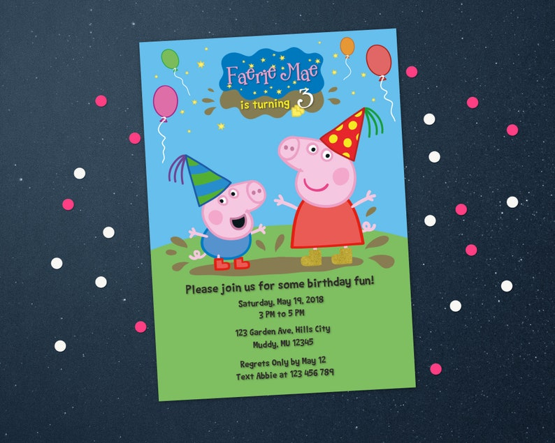Personalized Peppa Pig And George Birthday Invitation Invite Balloons Party Hat Outdoors Printable Diy Digital File