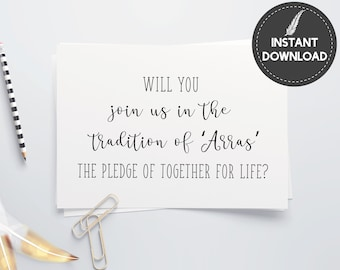 Instant Download - Will You Join Us In The Tradition Of Arras Wedding Invitation Invite Proposal Printable DIY - Digital File #ES01