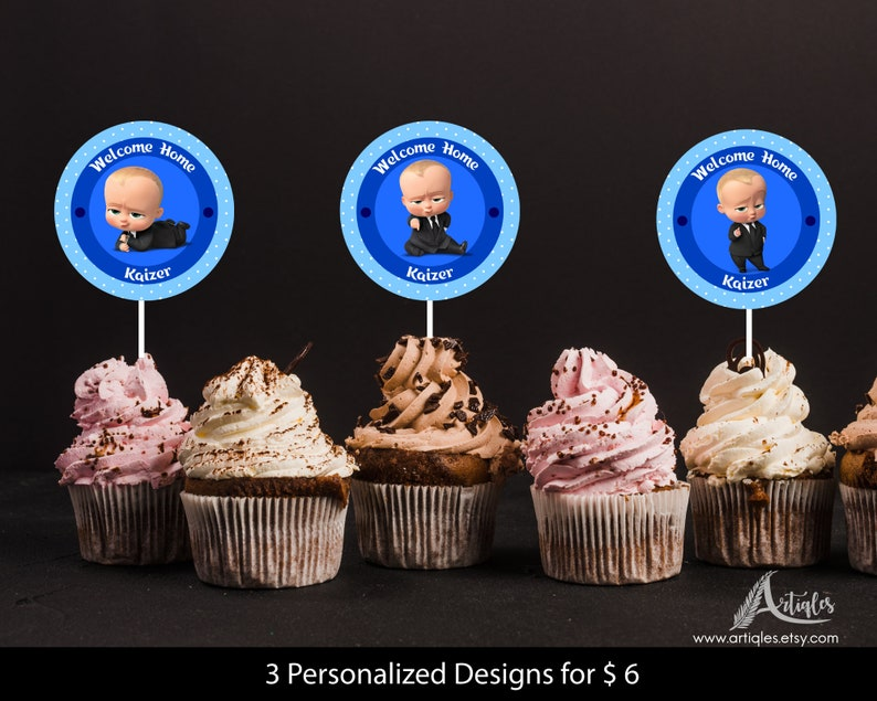 Personalized Boss Baby Cupcake Topper Circular Thank You Tags Round Tag Blue Polka Dots Welcome Home Baby Printable Diy Digital File