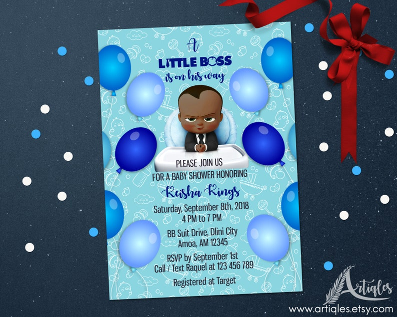 Personalized Boss Baby Invitation Suite Baby Shower Book Request Diaper Raffle Blue Balloons Baby Pattern Printable DIY Digital File