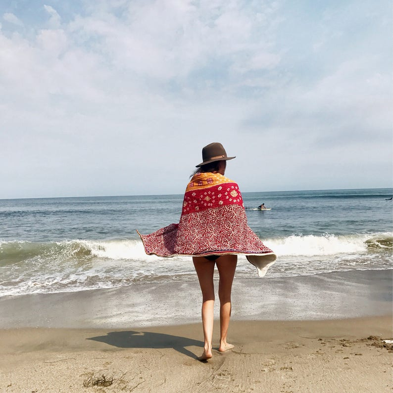 preorder  Adult Kantha Beach Towel image 0