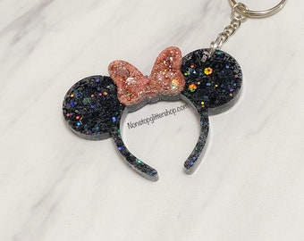 Minnie Mouse Inspired Crystal Key Chains White and Gold Charms