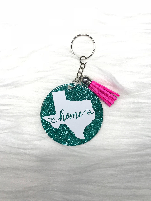 Glitter keychain tassel key chain glitter texas keychain  cac095207
