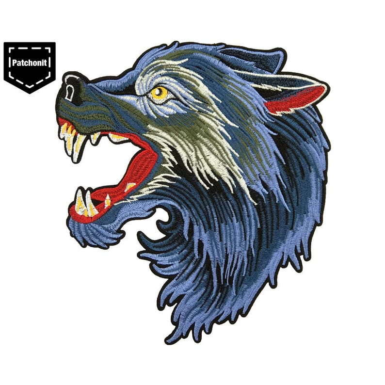 d39d2fcbb7838 Wolf Patch Wolf Iron on Patch Wolf Back Patch Wolf Embroidered Patch Wolf  Applique Wolf Head Patch Blue Wolf Patch Large Patch for Jacket