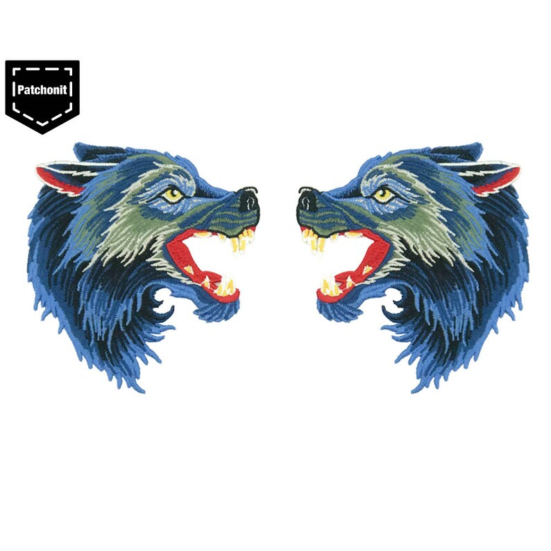 7142712d07fb6 2 Wolf Iron on Patch Wolf Patch for Arm Left and Right Wolf Back Patch Wolf  Embroidered Patch Wolf Applique Wolf Head Patch Blue Wolf Patch