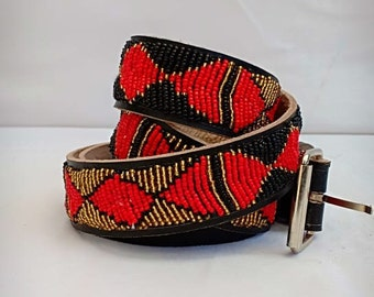 Red and white masaai//masai beaded leather men/'s belts
