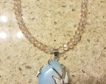 "Opal butterfly 16""Necklace"