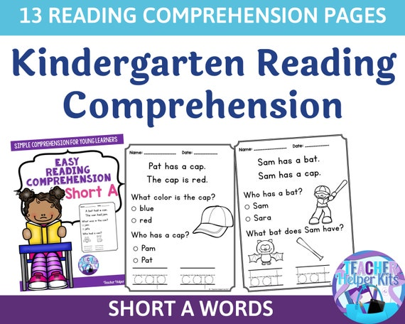 13 Kindergarten At Home Reading Worksheets Kindergarten Etsy