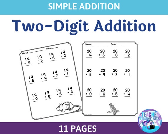 11 Two-Digit Addition Worksheets Math Printables First Grade Etsy
