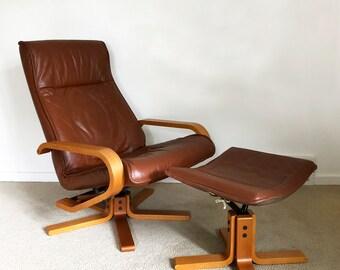 Kebe Teak Leather Recliner Lounge Chair U0026 Ottoman Danish Modern