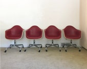 Herman Miller (4) Eames upholstered fiberglass arm shell chairs office base mid century